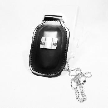 Porta placas cuero con cadena y pinza